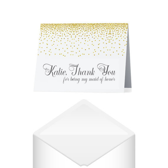 Maid Of Honor Thank You Card Personalized Savor The Memories